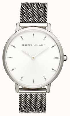 Rebecca Minkoff Major femme | bracelet en maille d'acier inoxydable | cadran argenté | 2200297