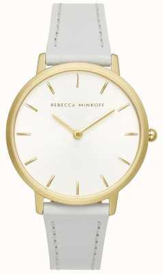 Rebecca Minkoff Major femme | bracelet en cuir gris | cadran argent / blanc | 2200289