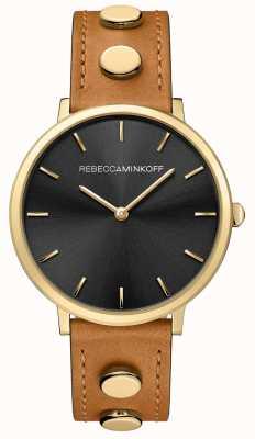 Rebecca Minkoff Major femme | bracelet en cuir marron | cadran noir | 2200027