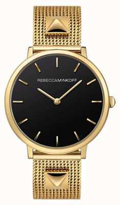Rebecca Minkoff Major femme | bracelet en maille plaqué or | cadran noir | 2200002