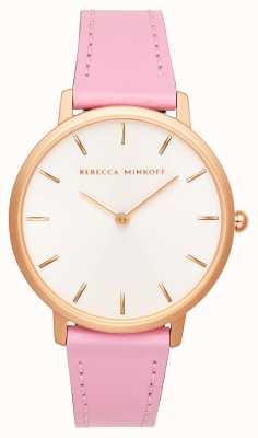 Rebecca Minkoff Major femme | bracelet en cuir rose | cadran argent / blanc | 2200290