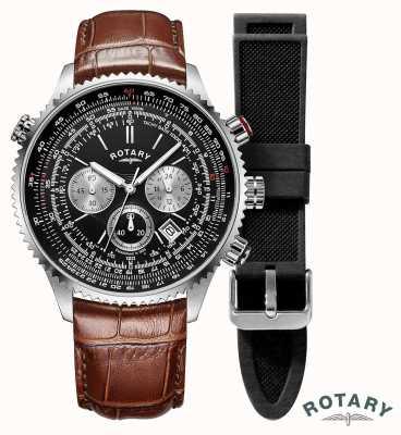 Rotary Pilotes hommes | chronographe | cadran noir | bracelet en cuir marron GS00100/04/KIT