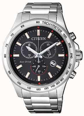 Citizen | chronographe eco-drive pour homme | cadran noir | acier inoxydable AT2420-83E