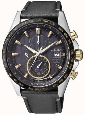 Citizen | chronographe mondial eco-drive pour hommes à | bracelet en cuir noir AT8158-14H