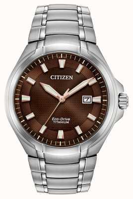 Citizen Montre Paradigm Eco-Drive pour homme à cadran brun en titane BM7431-51X