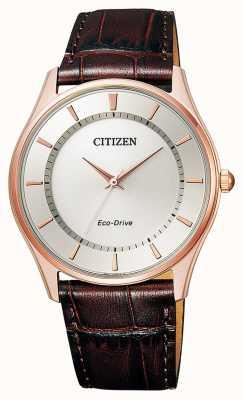 Citizen   eco-drive pour hommes   bracelet en cuir marron   cadran argenté   BJ6483-01A