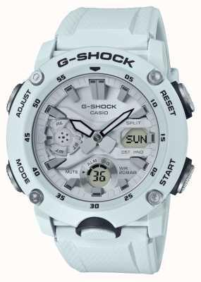 Casio | garde de noyau de carbone g-shock | bracelet en caoutchouc blanc | GA-2000S-7AER