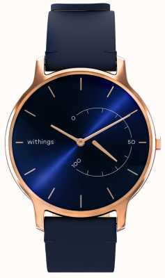 Withings Move Timeless Chic - cuir bleu, or rose HWA06M-TIMELESS CHIC-MODEL 3-RET-INT
