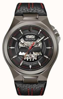 Bulova Maquina homme | automatique | bracelet en cuir noir | cadran noir 98A237