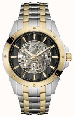 Bulova Mens automatique | cadran squelette | bracelet en acier deux tons 98A146