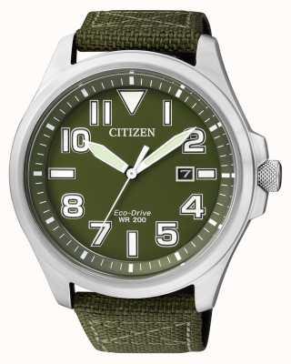 Citizen | eco-drive pour homme | sangle en nylon vert | cadran vert | AW1410-32X