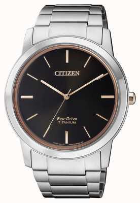 Citizen | mens eco-drive titane wr50 | cadran noir | bracelet en argent AW2024-81E