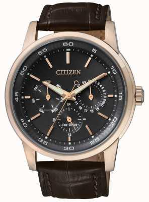 Citizen | eco-drive pour homme | bracelet en cuir marron | cadran chrono noir | BU2013-08E