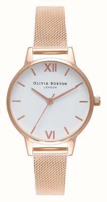 Olivia Burton | les femmes | bracelet en maille d'or rose | cadran blanc | OB16MDW01