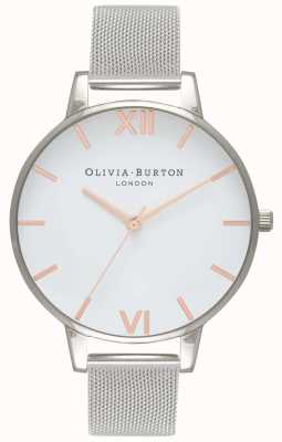 Olivia Burton | femmes | cadran blanc | bracelet en maille d'argent | OB16BD97