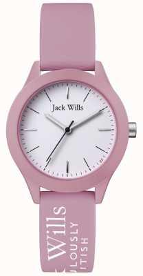 Jack Wills | syndicat des femmes | cadran blanc | bracelet en silicone rose | JW008PKWH