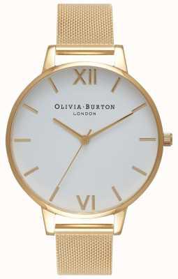 Olivia Burton   les femmes   cadran blanc   bracelet en maille d'or   OB15BD84