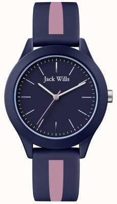 Jack Wills | union des hommes | cadran marine | bracelet en silicone rose / marine | JW009BLPST