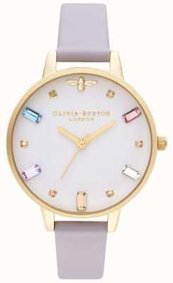 Olivia Burton | les femmes | abeille arc-en-ciel | sangle violette demi parme | OB16RB11