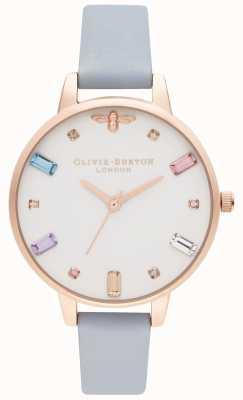 Olivia Burton | les femmes | abeille arc-en-ciel | sangle demi craie bleue | OB16RB12
