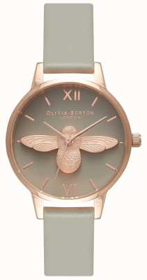Olivia Burton | les femmes | Abeille 3d | bracelet gris | cadran gris | OB15AM77