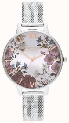 Olivia Burton   les femmes   fleurs britanniques   bracelet en maille d'acier inoxydable   OB16EG133