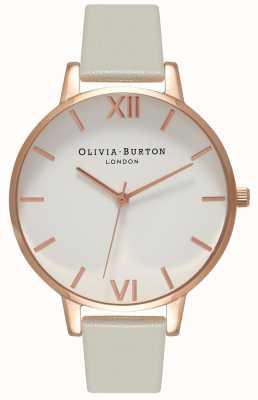 Olivia Burton | les femmes | cadran blanc | bracelet en cuir gris | OB15BDW02