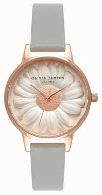 Olivia Burton   les femmes   Marguerite 3d   bracelet en cuir gris   OB15EG50