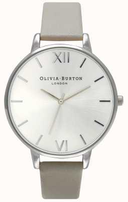 Olivia Burton | les femmes | cadran argenté | bracelet en cuir gris | OB15BD57