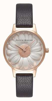 Olivia Burton | les femmes | Cadran marguerite 3d | bracelet en cuir noir | OB16FS97