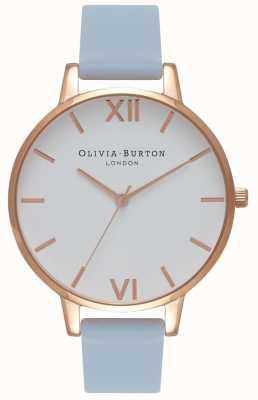 Olivia Burton | les femmes | grand cadran blanc | bracelet bleu craie | OB16BDW18