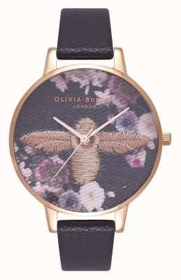 Olivia Burton | les femmes | abeille 3d brodée | bracelet en cuir noir | OB16EM02