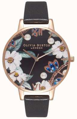 Olivia Burton Femmes | fleurs dorées | bracelet noir OB16BF04