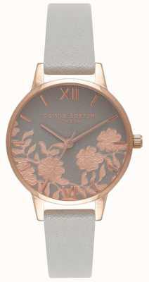 Olivia Burton | les femmes | cadran détail dentelle | bracelet en cuir gris | OB16MV58