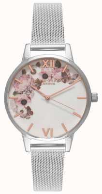 Olivia Burton | les femmes | signature florals dial | bracelet en maille d'acier | OB16WG30