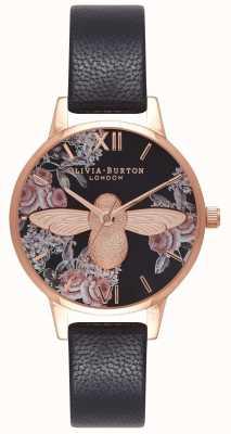 Olivia Burton | les femmes | abeille 3d botanique | bracelet en cuir noir | OB16AM100