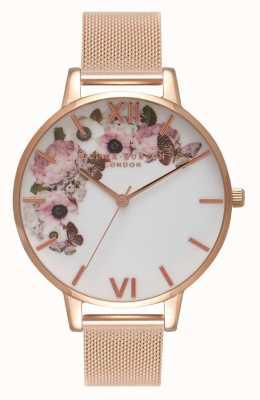 Olivia Burton | les femmes | cadran floral signature | bracelet en maille d'or rose | OB16WG18