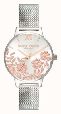 Olivia Burton | les femmes | détail de dentelle | bracelet en maille d'acier inoxydable | OB16MV90