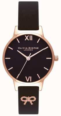 Olivia Burton | les femmes | cadran noir | bracelet vintage avec noeud noir | OB16VB07