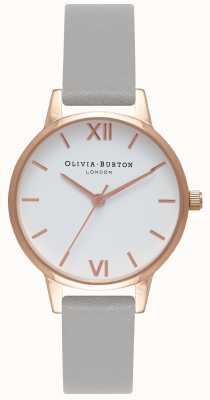 Olivia Burton Femmes | cadran blanc | bracelet gris OB16MDW05