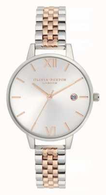 Olivia Burton   les femmes   demi date   bracelet en acier inoxydable deux tons   OB16DE06