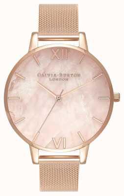 Olivia Burton Femmes | cadran semi précieux | bracelet en maille d'or rose OB16SP01