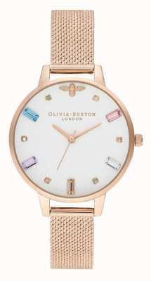 Olivia Burton   les femmes   abeille arc-en-ciel   bracelet maille boucle rose or   OB16RB15