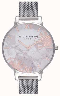 Olivia Burton Femmes   fleurs abstraites   maille d'acier inoxydable OB16VM20