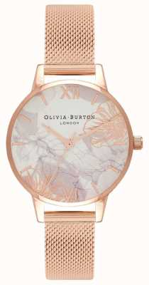 Olivia Burton Femmes | fleurs abstraites | bracelet en maille d'or rose OB16VM11