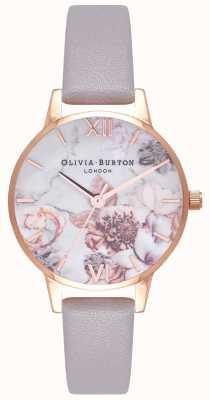 Olivia Burton | les femmes | fleurs en marbre | bracelet en cuir gris lilas | OB16CS14