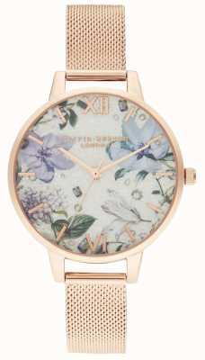 Olivia Burton | femmes | fleurs ornées de bijoux | bracelet en maille or rose | OB16BF27