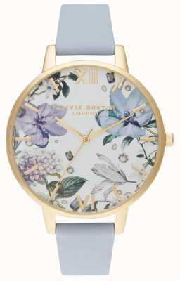 Olivia Burton | les femmes | fleurs ornées de bijoux | bracelet en cuir bleu craie | OB16BF21