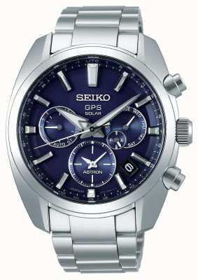 Seiko Bracelet en acier inoxydable à cadran bleu pour hommes astron gps SSH019J1