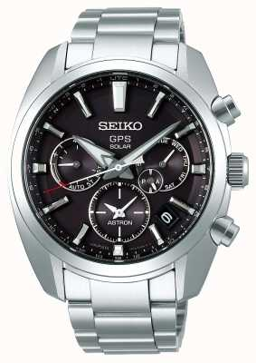 Seiko Bracelet en acier inoxydable avec cadran gris Astron Solar GPS pour homme SSH021J1